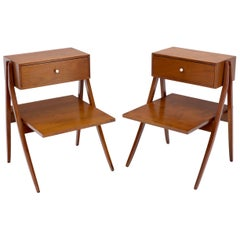 Pair of Oiled Walnut End Side Bed Tables by Drexel