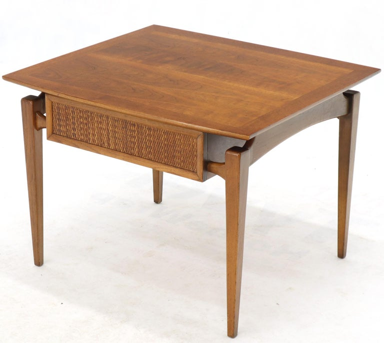 Pair of Oiled Walnut Exposed Sculptural Legs Large Square Side End Tables 3