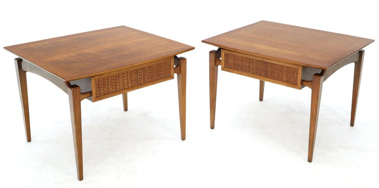 Pair of Oiled Walnut Exposed Sculptural Legs Large Square Side End Tables 4