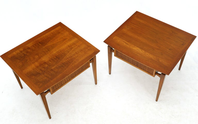 Pair of Oiled Walnut Exposed Sculptural Legs Large Square Side End Tables 5