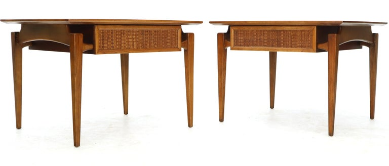 Pair of Oiled Walnut Exposed Sculptural Legs Large Square Side End Tables 6