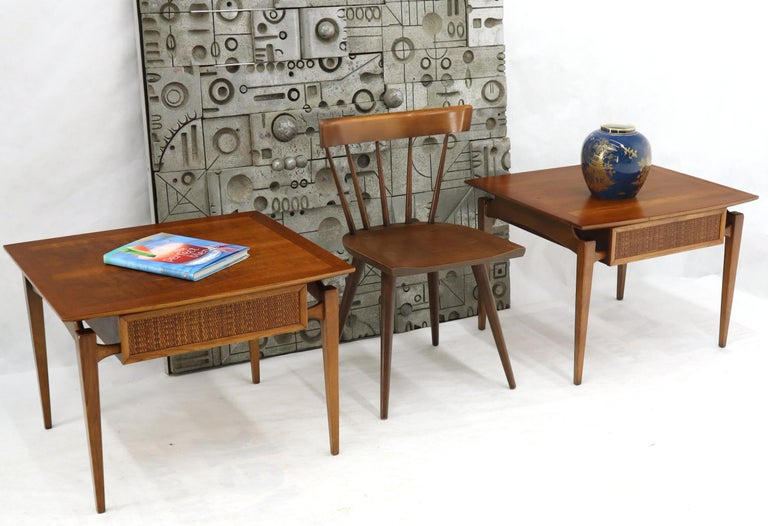 Mid-Century Modern one drawer side end lamp tables in walnut. Nice wood grain and oil finish.
