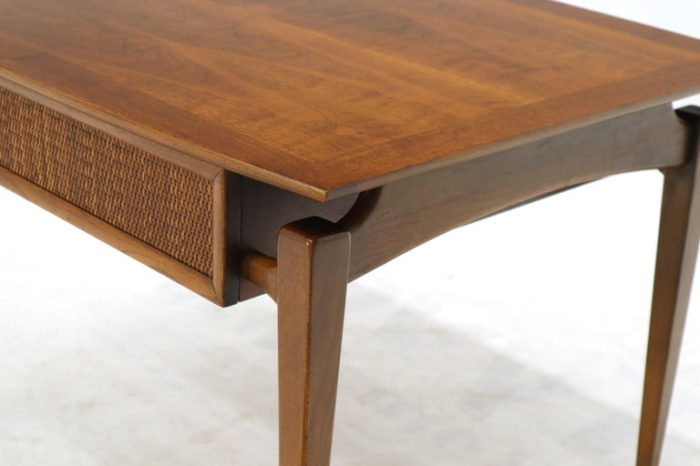 Mid-Century Modern Pair of Oiled Walnut Exposed Sculptural Legs Large Square Side End Tables