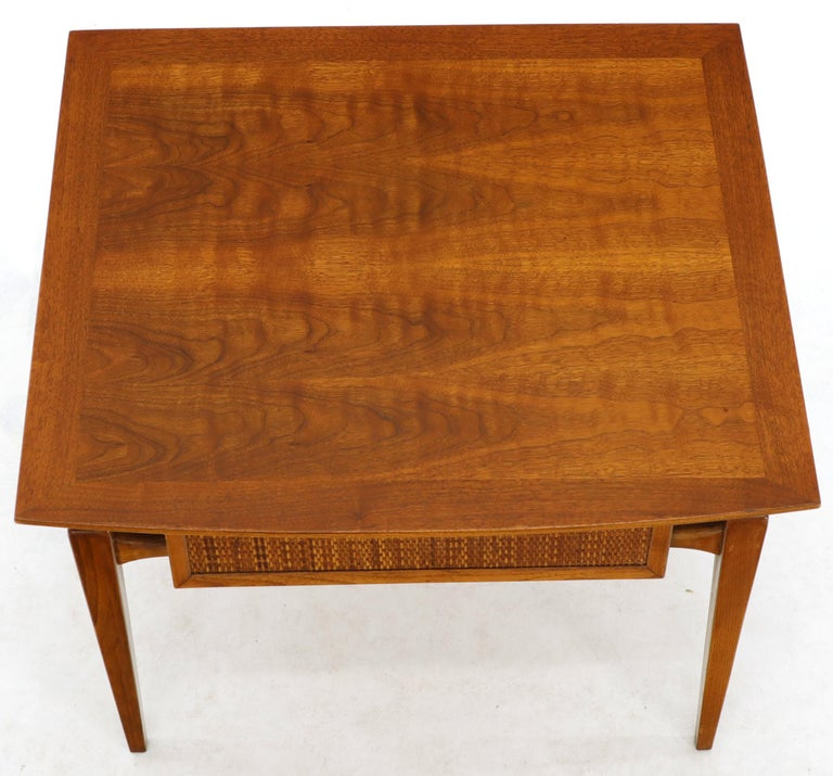 Lacquered Pair of Oiled Walnut Exposed Sculptural Legs Large Square Side End Tables