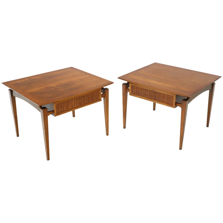 Pair of Oiled Walnut Exposed Sculptural Legs Large Square Side End Tables