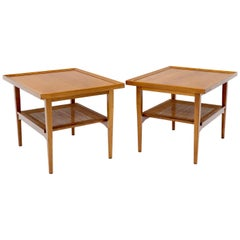 Pair of Oiled Walnut Rectangular Cane Shelf Side End Table Stands
