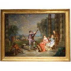 Pair of Oils on Panel in the Taste of Jean Antoine Watteau, France, 19th Century