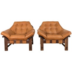 Pair of Leather and Oiled Walnut Ojai Lounge Chairs by Lawson-Fenning