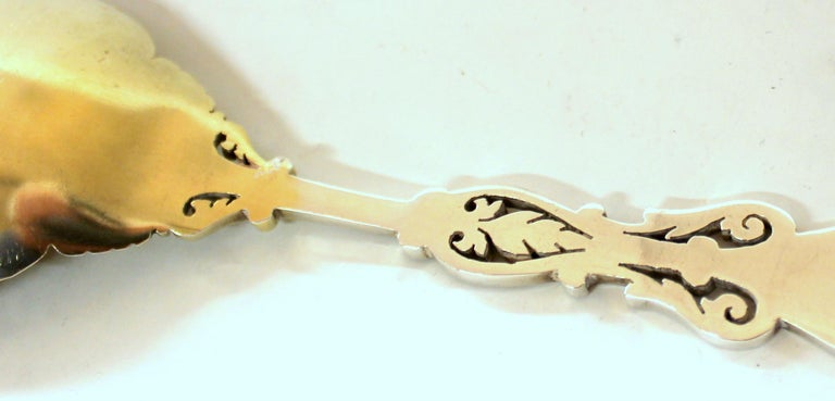 Pair of Old 19th Century Silver Plate Hand-Pierced and Engraved Serving Spoons For Sale 4