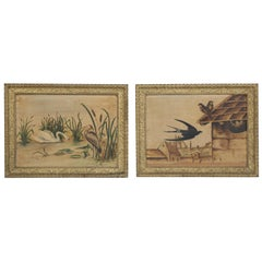 Pair of Old French Bird Oil Paintings by Marguerite, circa 1920s