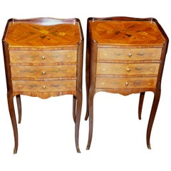 Pair of Old French Louis XV style Marquetry Inlaid Kingwood Bedside Tables
