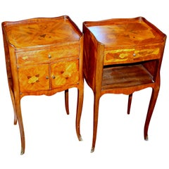 Pair of Old French Marquetry Inlaid King Wood Louis XV Style Bedside Tables