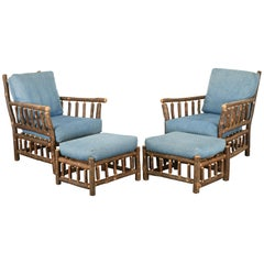 "Pair of Old Hickory ""Asheville"" Chairs and Ottomans, 20th Century"