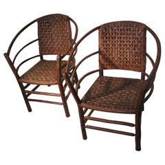 Pair of Old Hickory Barrel Back Ash Splint Armchairs