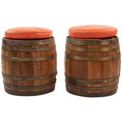 Pair of Old Hickory Barrel Stools