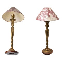 Pair of Old High Brass American Table Lamps