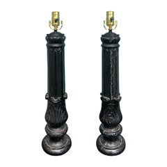 Pair of Old Iron Fragments as Lamps, circa 1900