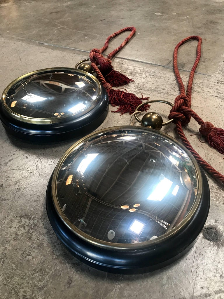 Modern Pair of Old Italian Convex Mirrors For Sale
