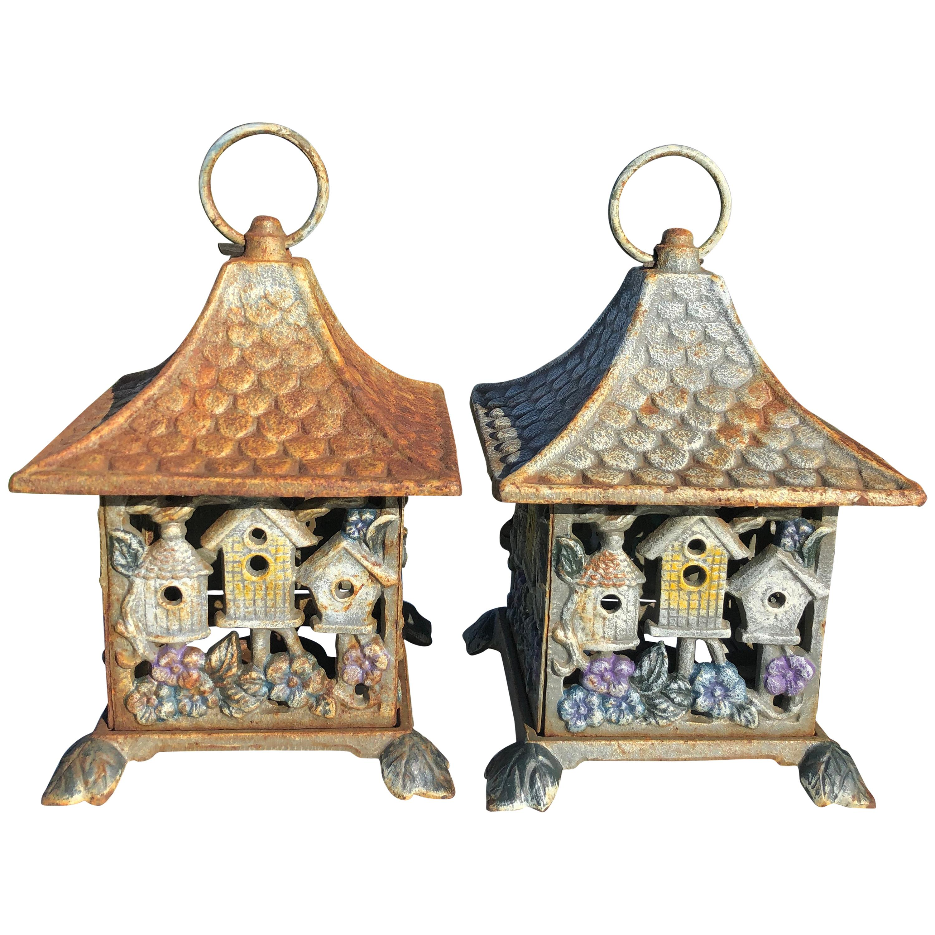 "Pair of Old Japanese ""12 Bird Houses"" Hand Cast Lanterns"