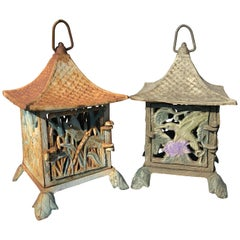 """Pair of Old Japanese """"Birds And Dragonfly"""" Hand Cast Lanterns"""