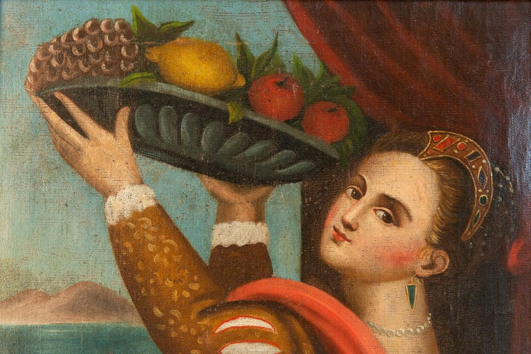 Interesting pair of old paintings with Lavinia, Tiziano Vecellio's daughter, in the guise of a noblewoman and of a commoner.