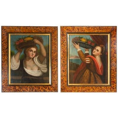 "Pair of Old Paintings ""Lavinia"" from Tiziano"