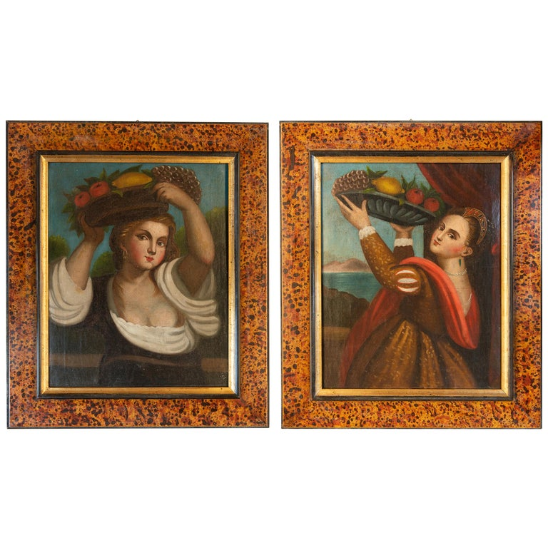"Pair of Old Paintings ""Lavinia"" from Tiziano For Sale"