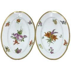 Pair of Old Paris Gilt Porcelain Floral Platters