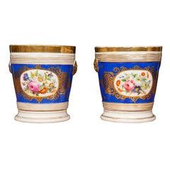 Pair of Old Paris Porcelain Cache-Pots