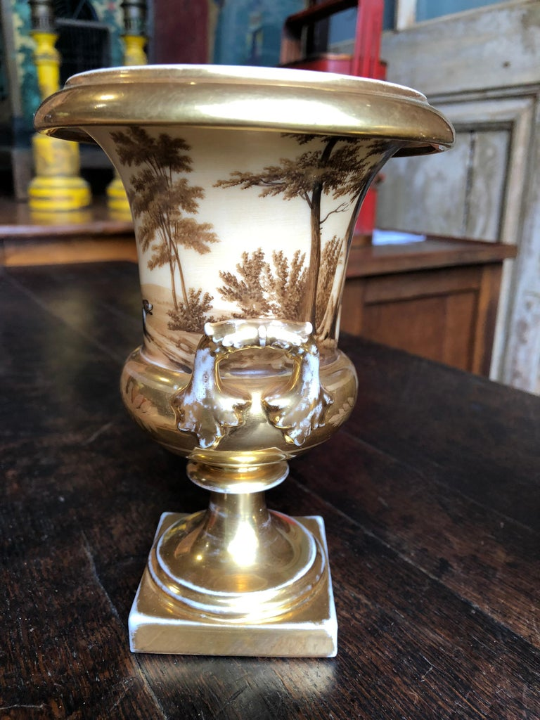 Pair of Old Paris Urns, Hunting Theme 4