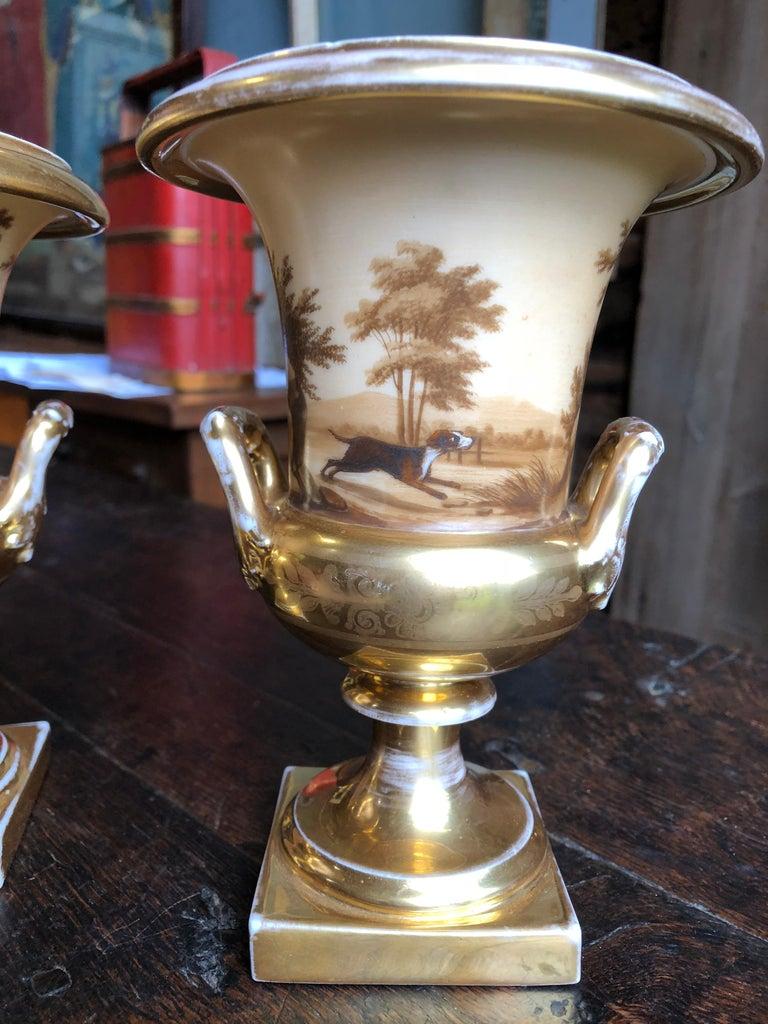 Porcelain Pair of Old Paris Urns, Hunting Theme