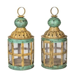 Pair of Old Style Polychrome Metal Lanterns with Crystals