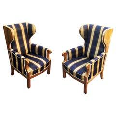 Pair of Old Walnut Veneered Wing Chairs