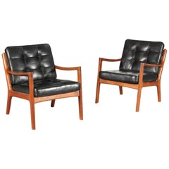 Pair of Ole Wanscher Danish Modern Teak and Leather Senator Lounge Chairs