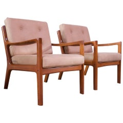 "Pair of Ole Wanscher for France and Son ""Senator"" Chairs in Teak"
