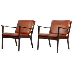 Pair of Ole Wanscher Lounge Chairs, Model PJ112, Cognac Aniline Leather