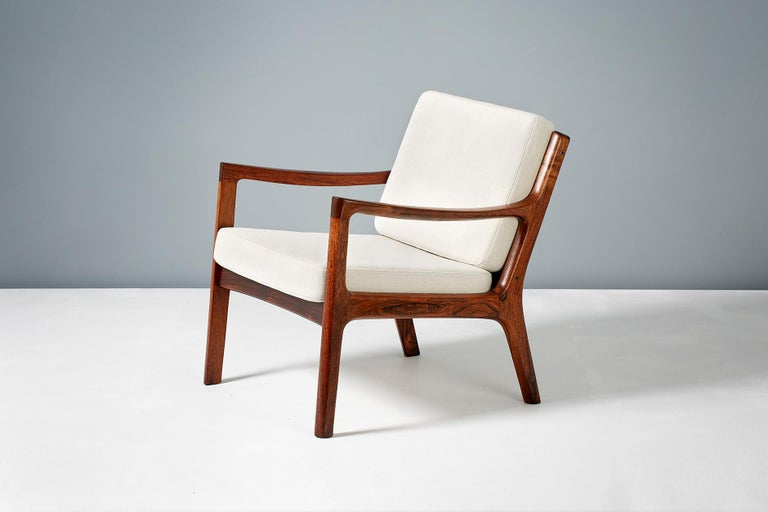 Mid-20th Century Pair of Ole Wanscher Rosewood Senator Lounge Chairs, 1960 For Sale