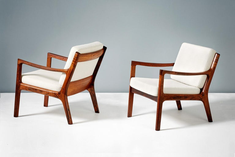 Wool Pair of Ole Wanscher Rosewood Senator Lounge Chairs, 1960 For Sale