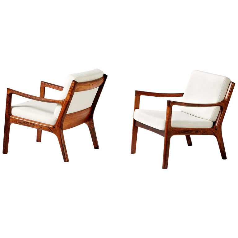 Pair of Ole Wanscher Rosewood Senator Lounge Chairs, 1960 For Sale