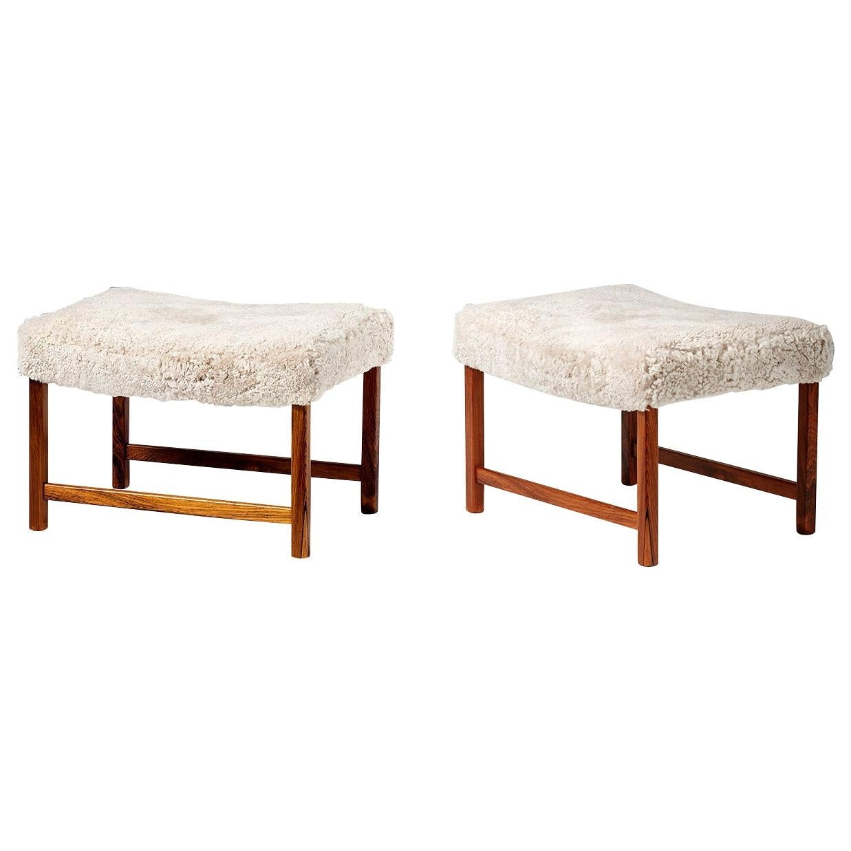 Pair of Ole Wanscher Rosewood Vintage Ottomans, circa 1950s