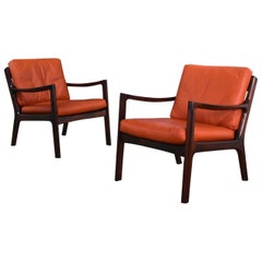 Pair of Ole Wanscher Solid Brazilian Rosewood 'Senator' Chairs for France & Son