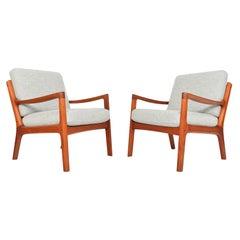 Pair of Ole Wanscher Teak Senator Lounge Chairs