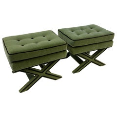 Pair of Olive Green and Brown Mohair X Base Ottomans by Billy Baldwin