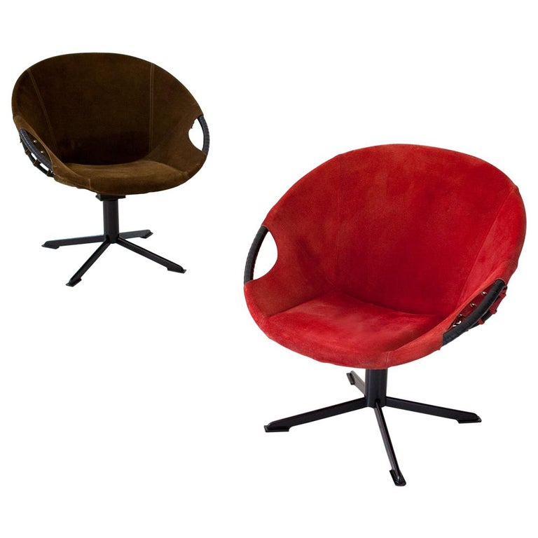 Pair of Olive Green and Red Natural Suede Leather Lounge Chairs, 1960s For Sale