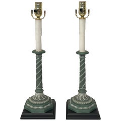 Pair of Olive Green and White Wedgwood Candlesticks, Now as Lamps
