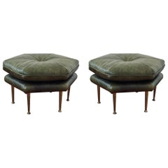 Pair of Olive Green and Brass Legs Italian Hexagon Ottomans