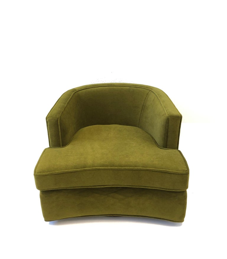 Pair of Olive Green Mohair Swivel Lounge Chairs by Harvey Probber For Sale 6