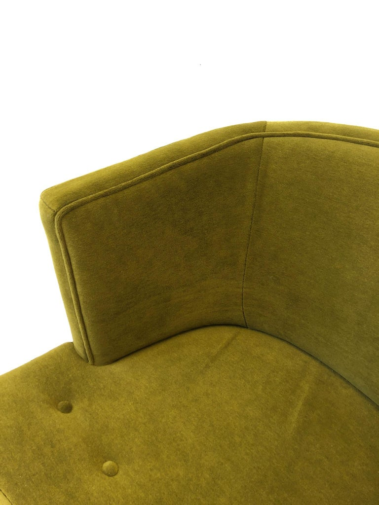Pair of Olive Green Mohair Swivel Lounge Chairs by Harvey Probber For Sale 8