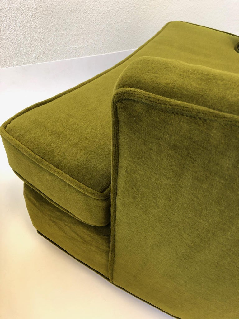 Pair of Olive Green Mohair Swivel Lounge Chairs by Harvey Probber For Sale 9