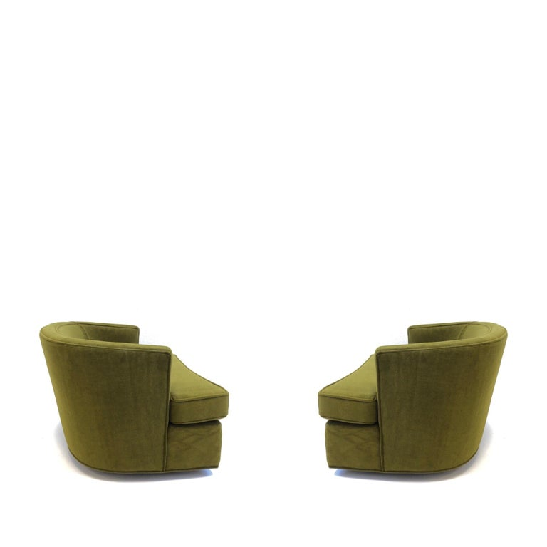 Pair of Olive Green Mohair Swivel Lounge Chairs by Harvey Probber For Sale 12